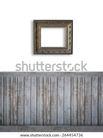Blank backdrop with dark bead board for advertising - stock photo