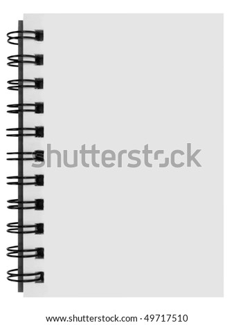 blank background. paper spiral notebook isolated on white