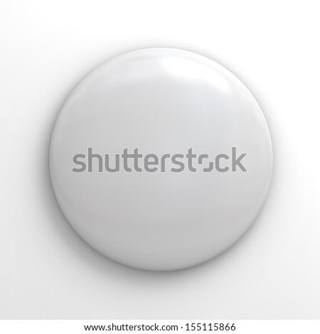 Blank badge button on white background - stock photo