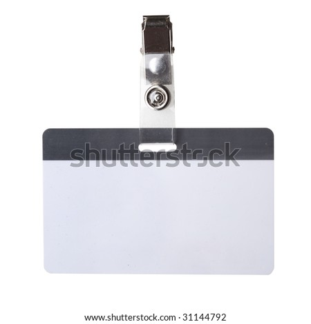 Blank badge close-up isolated over white background