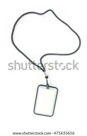 Blank badge with black neckband. on white background.