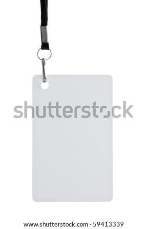 Blank badge with black strap on white background