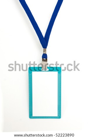 Blank badge with blue neckband on white background - stock photo