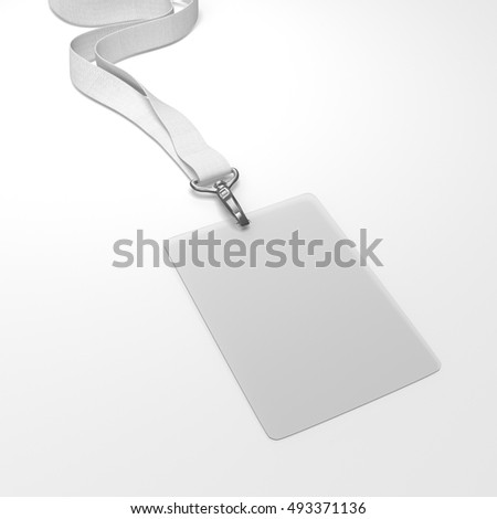 Blank badge with neckband and white tape. 3d rendering