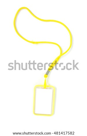 Blank badge with yellow neckband. on white background.