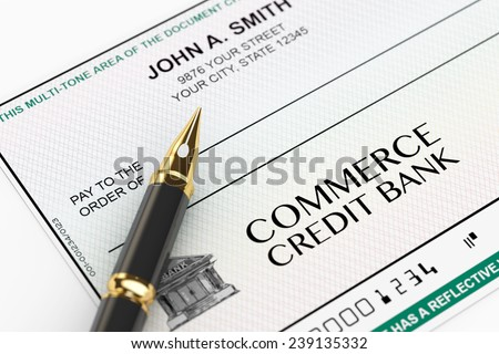 Blank Banking Check and Fountain Pen on a white background - stock photo