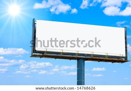 "blank banner for your ad and the sun   -  of ""Blank Billboards"" series in my portfolio"