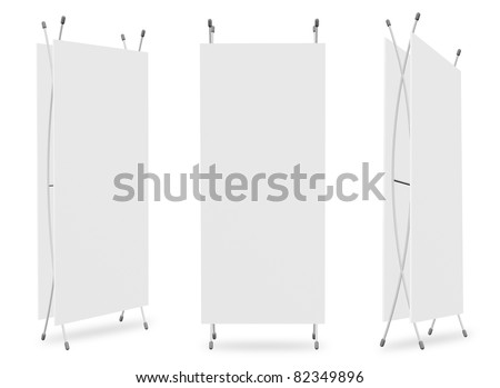 Blank banner X-Stands tree displays for design work (3D render) - stock photo