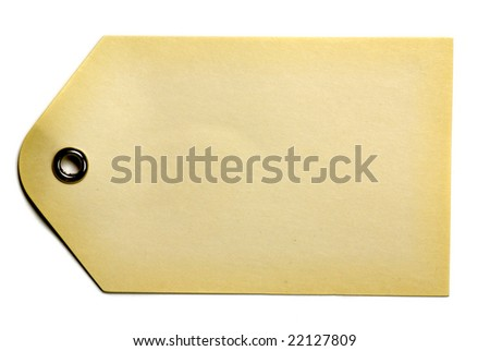 Blank beige gift tag isolated on a white background - stock photo