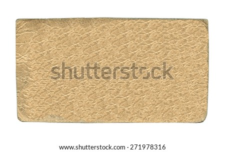 blank beige  leather label on white background, - stock photo