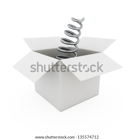 Blank bended metal spring from a box - stock photo