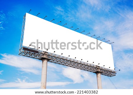 Blank billboard against blue sky for new advertisement  - stock photo