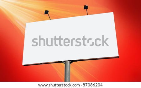 Blank billboard against orange sky, put your own text here - stock photo
