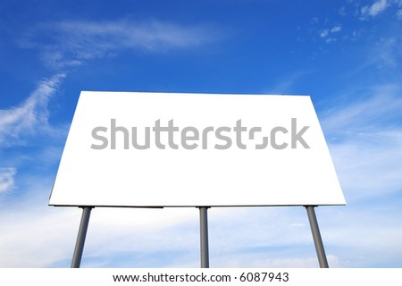 Blank billboard and blue sky