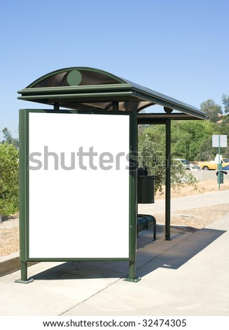 Blank Billboard at a modern Bus Stop - stock photo