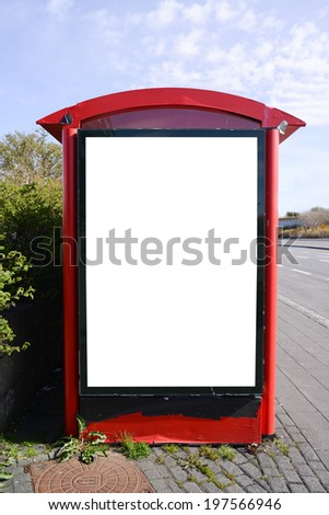 Blank billboard at city bus station - stock photo