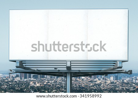 Blank billboard at megapolis city view backgound, mock up - stock photo
