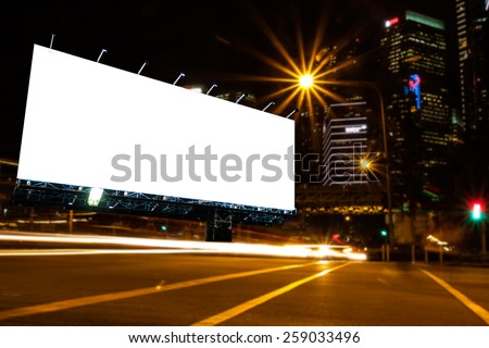 blank billboard at night time for advertisement. street light. - stock photo