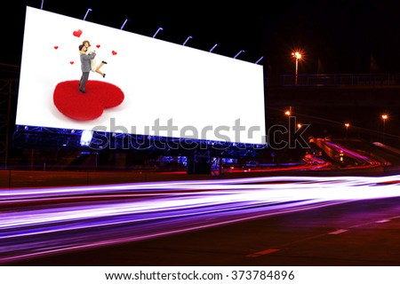 blank billboard at night time for advertisement. street light,valentine concept. - stock photo