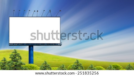 Blank billboard at park. Useful for your advertisement - stock photo
