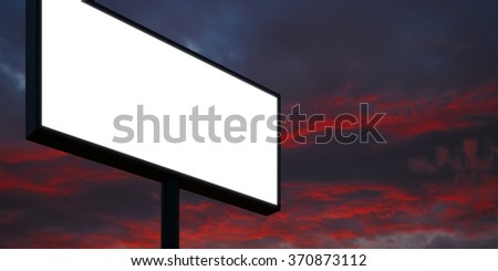 Blank billboard at sunset time ready for advertisement. Wide, cloudy sky on background. 3d render - stock photo