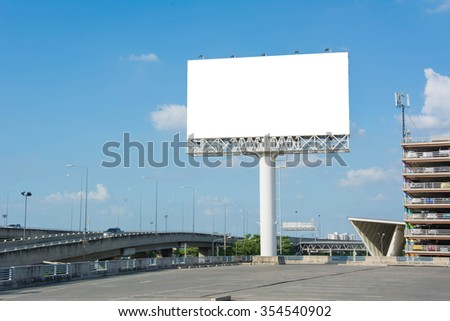Blank billboard at twilight for advertisement.