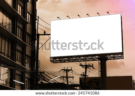 Blank billboard at twilight time for advertisement - stock photo