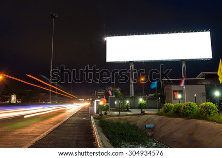 Blank billboard at twilight time ready for new advertisement.