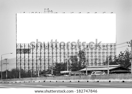 Blank billboard  for advertisement, In black and white tones - stock photo