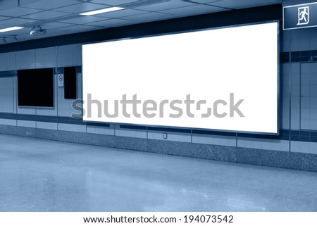 blank billboard for advertising at railway station