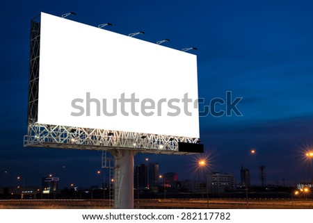 Blank billboard for new advertisement, twilight time   - stock photo