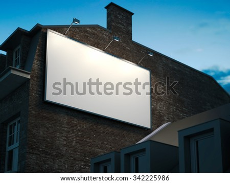 Blank billboard hanging on classic building in the night - stock photo