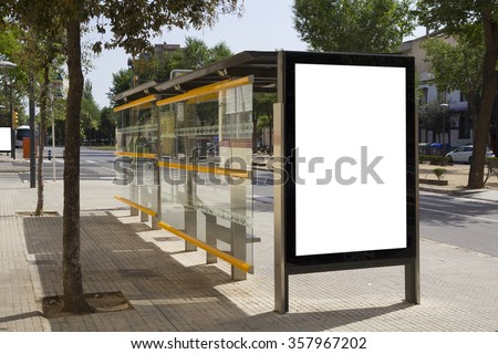 Blank billboard in a bus stop, for advertisement at the street