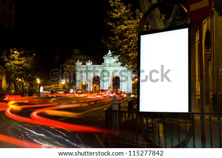 Blank Billboard in a City Night in Madrid - stock photo