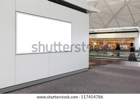 blank billboard in airport, empty copy space in the image is great for designer - stock photo