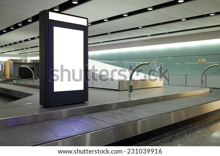 Blank Billboard in airport shot in united kingdom, london, Heathrow Airport - stock photo