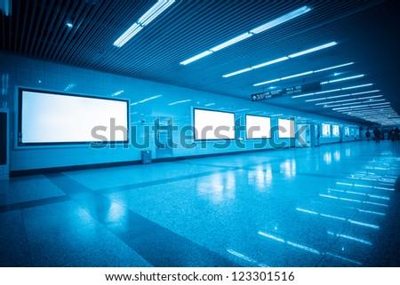 blank billboard in shanghai subway station - stock photo