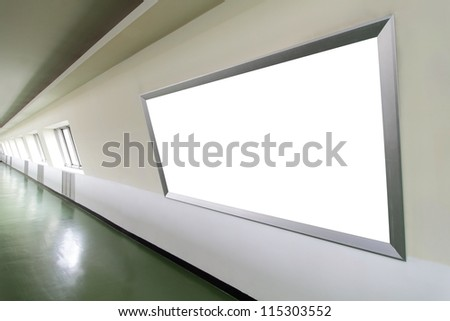 Blank billboard in the city building, shot in subway station, white empty copy space is great for user - stock photo