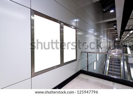 Blank billboard in train station - stock photo