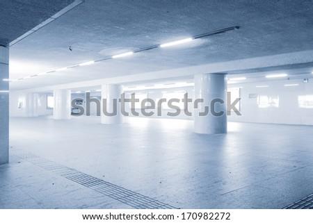 Blank billboard in underground passage - stock photo