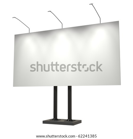 Blank billboard, isolated on white, 3d illustration, good for night scene - stock photo