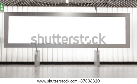 Blank billboard located in underground hall for your advertising - stock photo