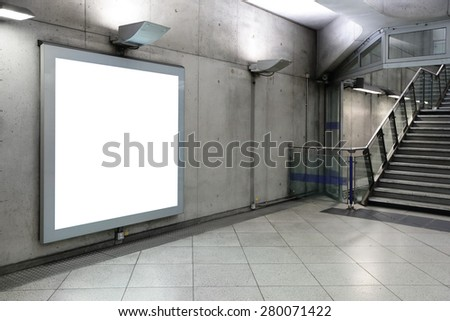 Blank billboard located in underground hall, London, United Kingdom, uk - stock photo