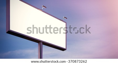 Blank billboard made of chrome metal  at twilight ready for advertisement. Flare effect. 3d render - stock photo