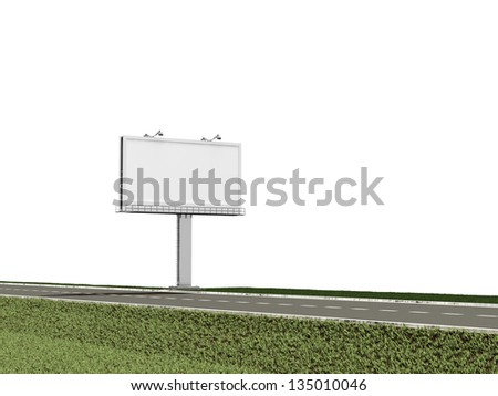 Blank Billboard near the asphalted road isolated on white background - stock photo