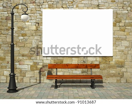 Blank billboard on brick wall with old fashioned street light and bench