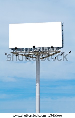 Blank billboard on cloudy sky, just add your text - stock photo