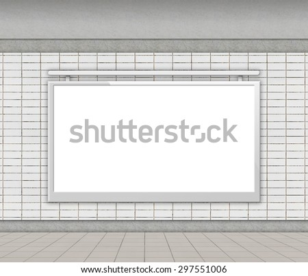Blank billboard on empty wall in undeground staion (city adverts) - stock photo
