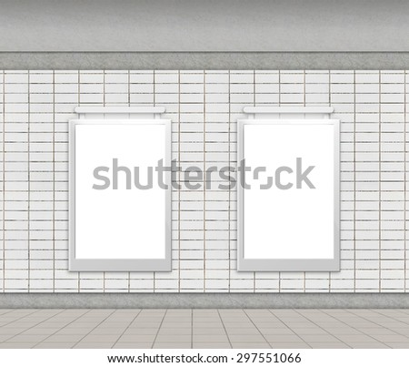 Blank billboard on empty wall in underground station (city adverts) - stock photo