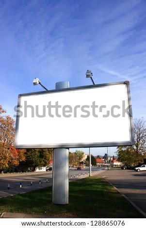 Blank Billboard On Field - stock photo